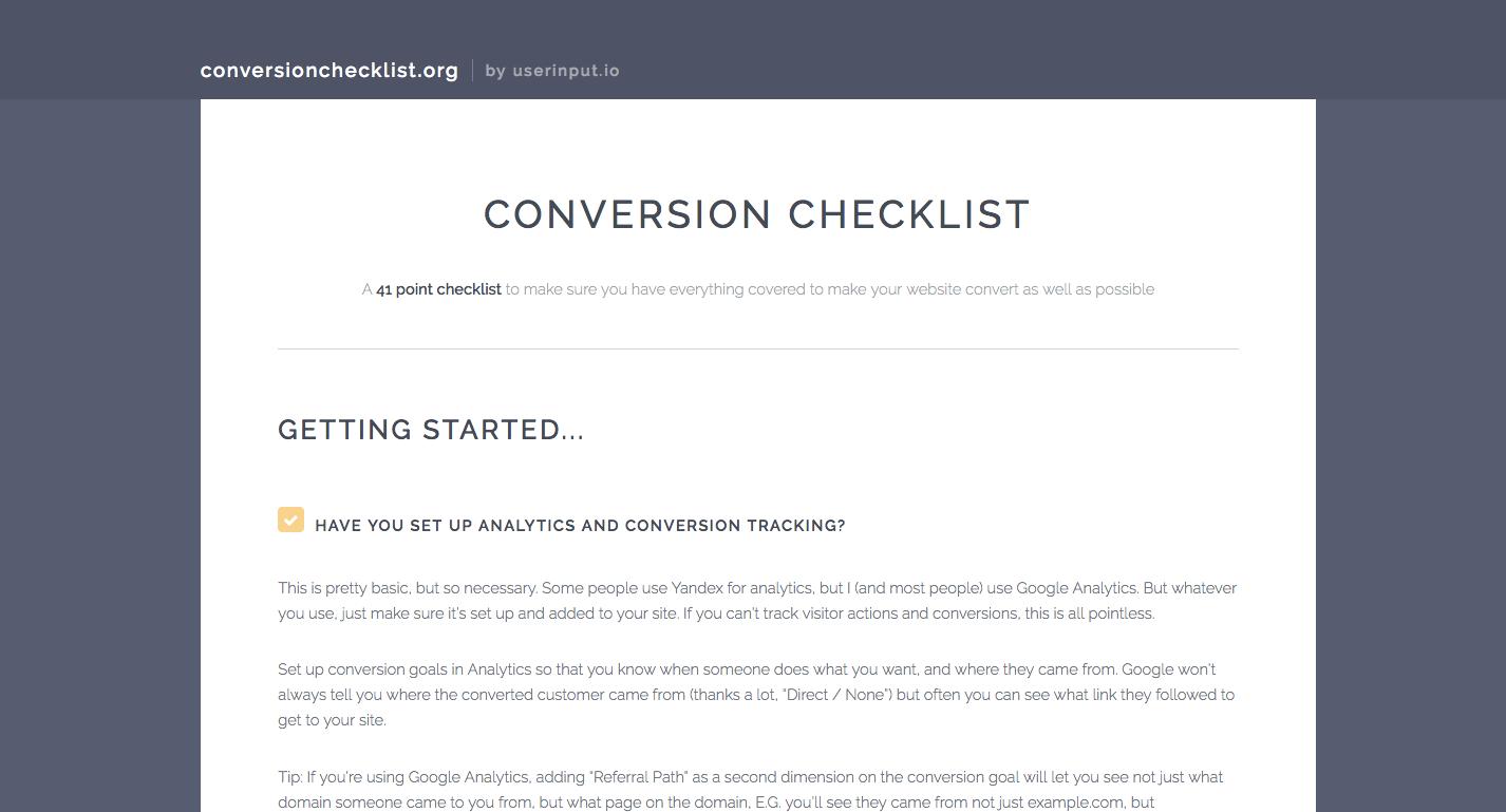 conversionchecklist