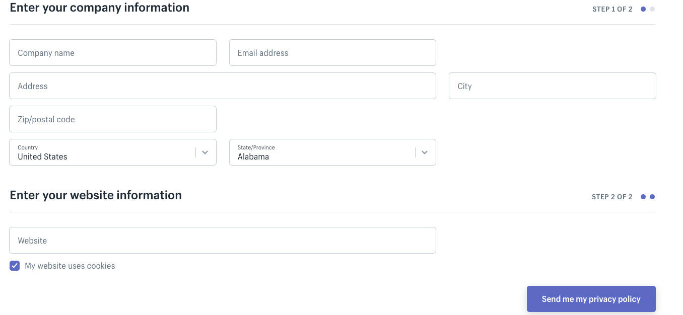 Shopify Privacy Policy Information Required