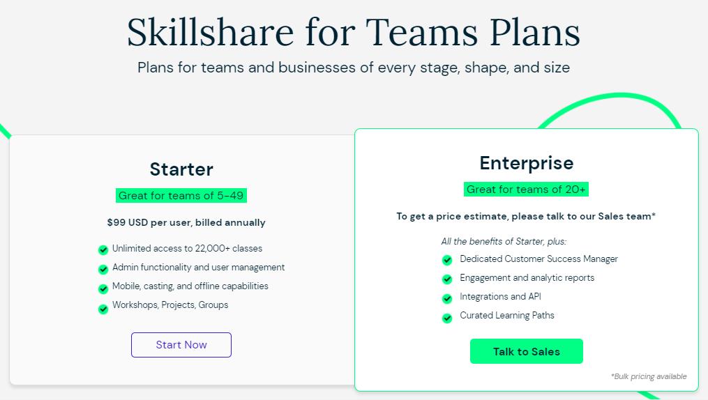 Skillshare Teams Pricing Plans